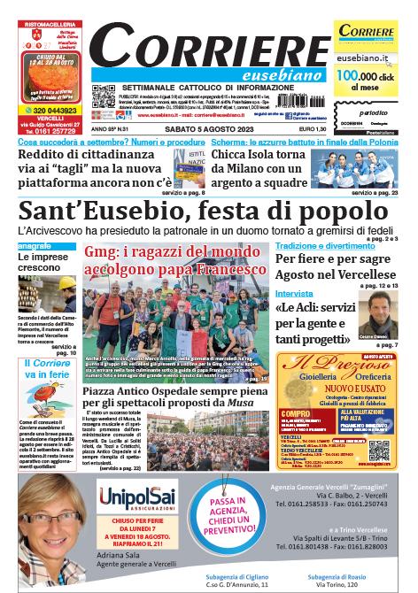 Corriere eusebiano in edicola prima pagina